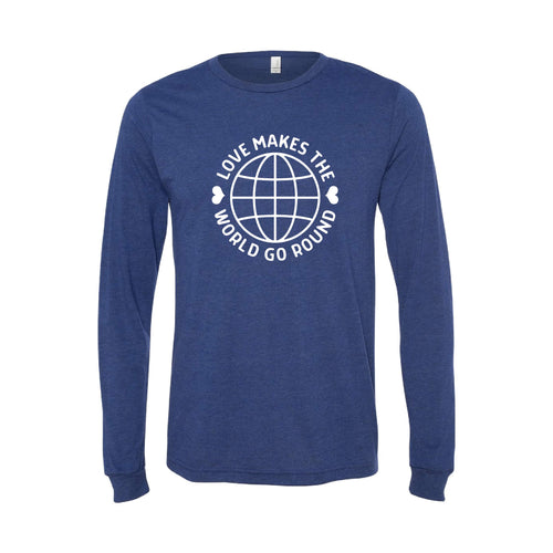 love makes the world go round long sleeve t-shirt - navy - soft and spun apparel