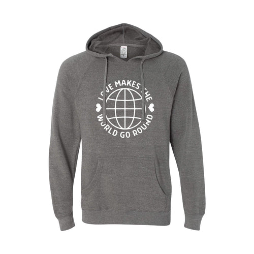 love makes the world go round pullover hoodie - nickel - soft and spun apparel