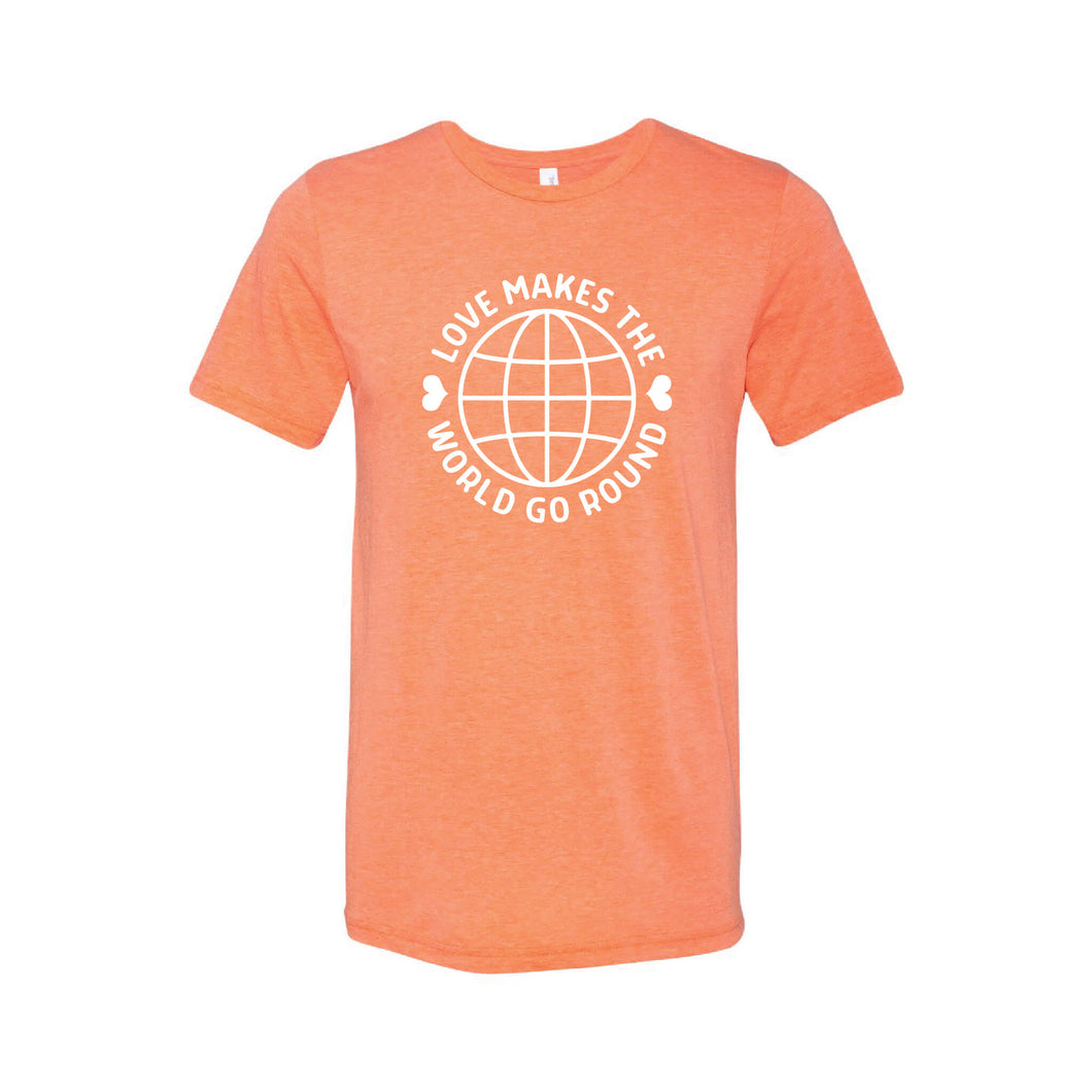 love makes the world go round t-shirt - orange - soft and spun apparel