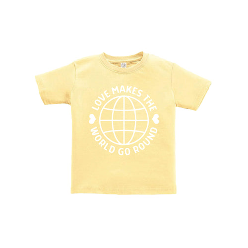 love makes the world go round toddler tee - butter - soft and spun apparel