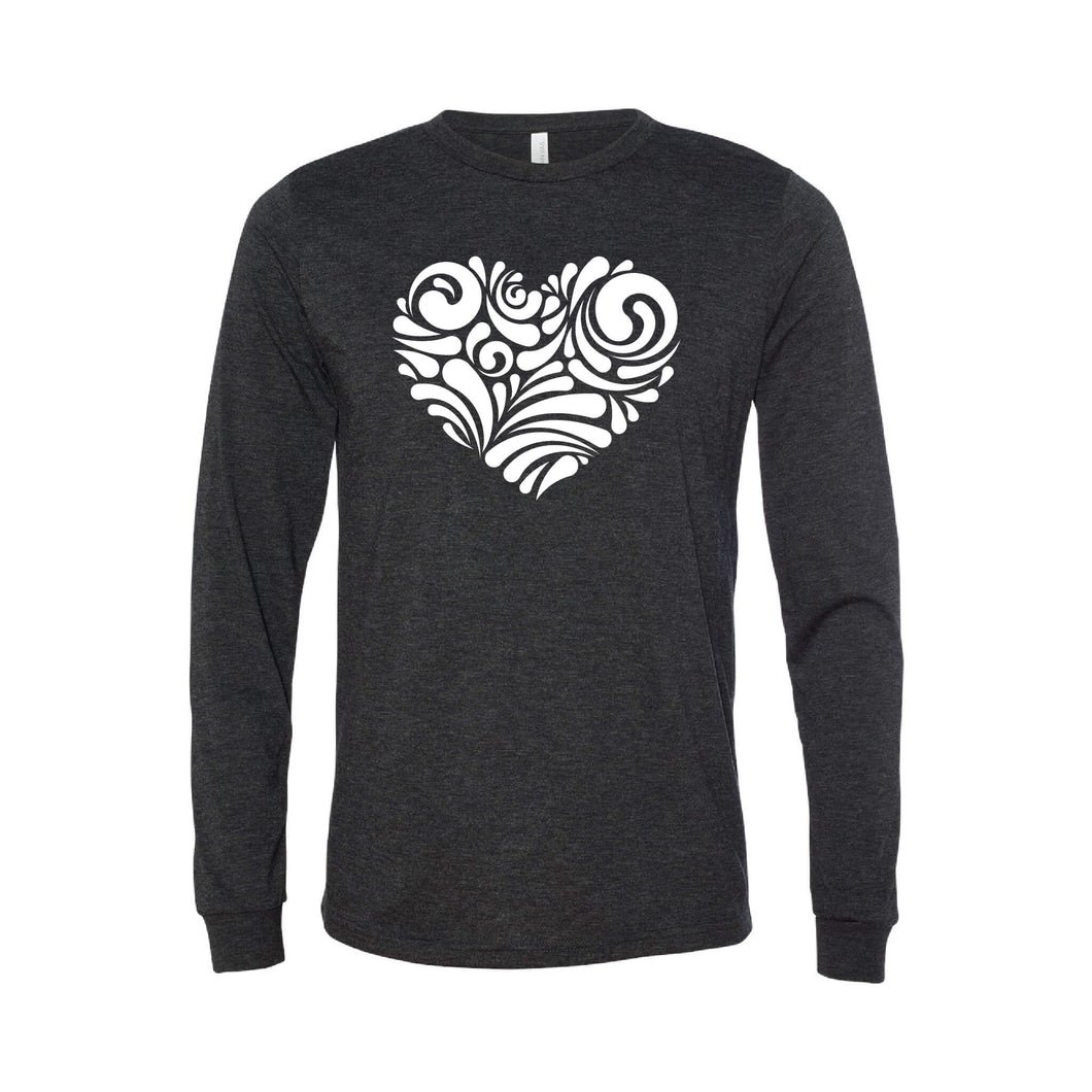valentine heart swirl long sleeve t-shirt - charcoal - soft and spun apparel