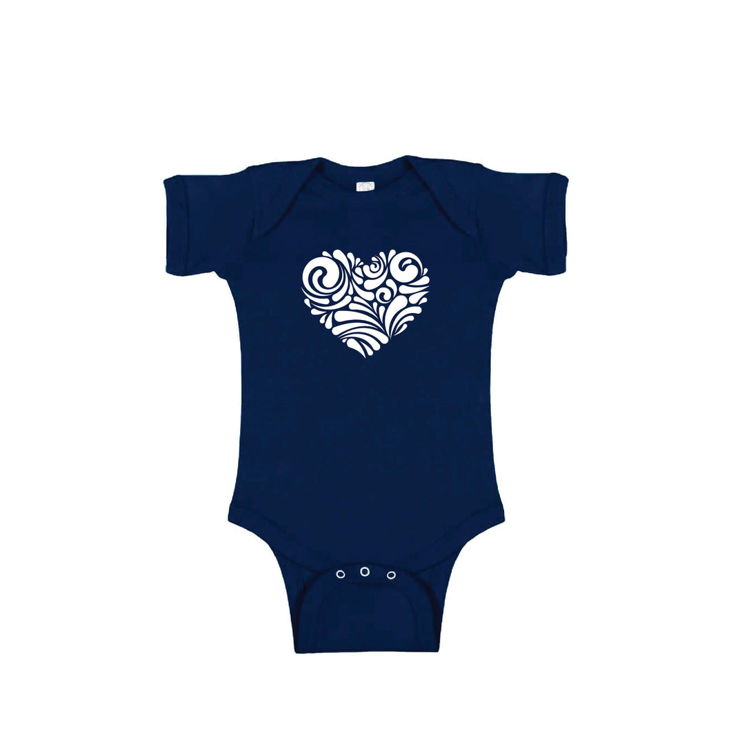 valentine heart swirl onesie - navy - soft and spun apparel