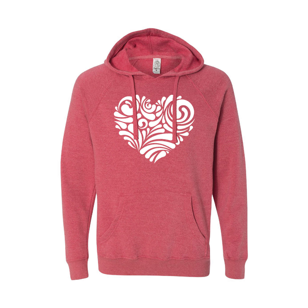 valentine heart swirl pullover hoodie - pomegranate - soft and spun apparel