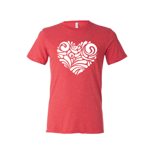 valentine heart swirl t-shirt - red - soft and spun apparel