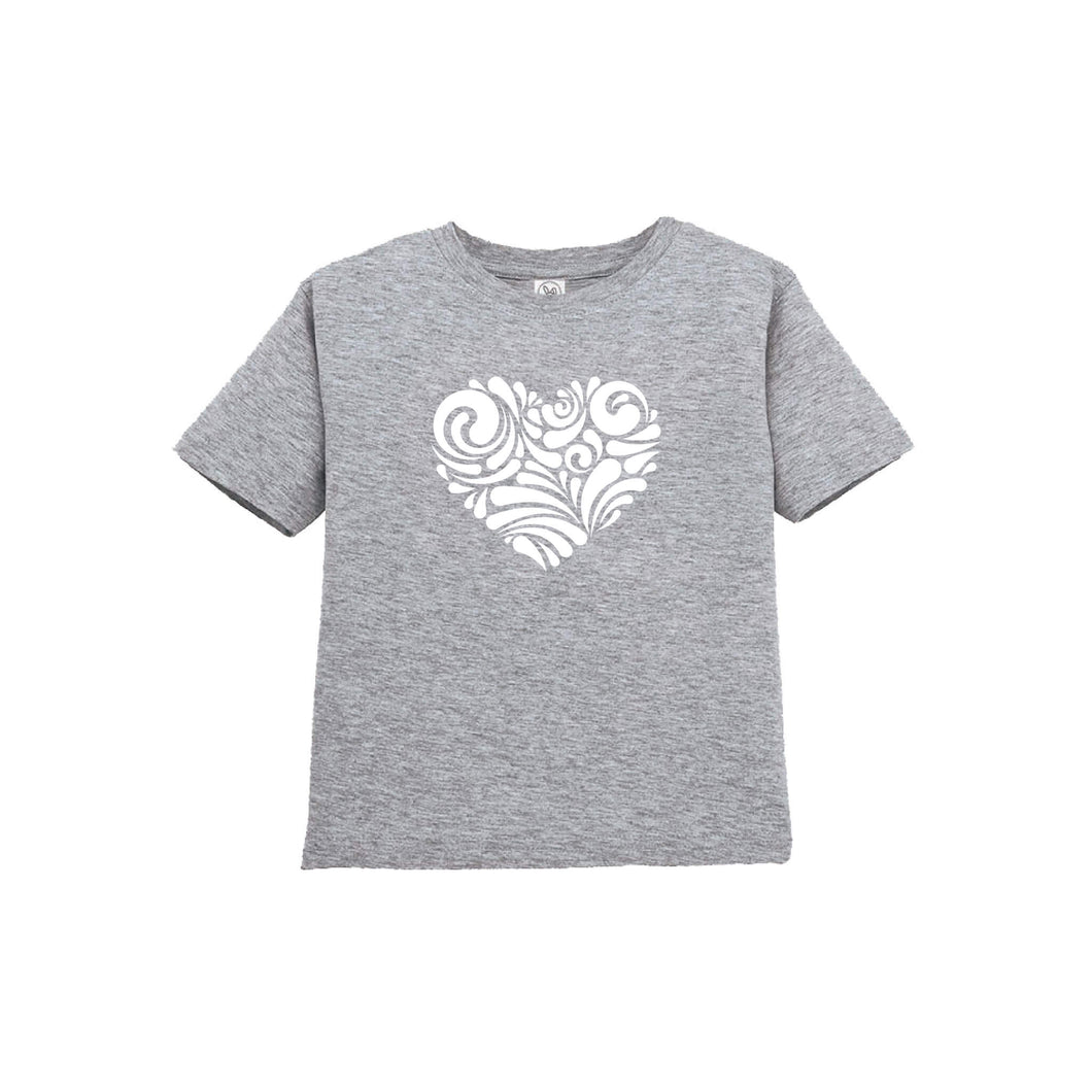 valentine heart swirl toddler tee - heather - soft and spun apparel