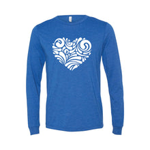 valentine heart swirl long sleeve t-shirt - true royal - soft and spun apparel