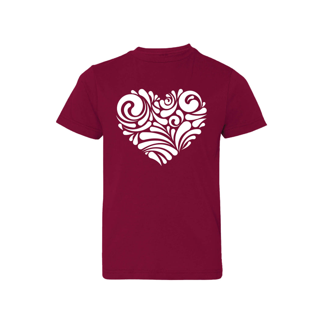 valentine heart swirl kids t-shirt - garnet - soft and spun apparel