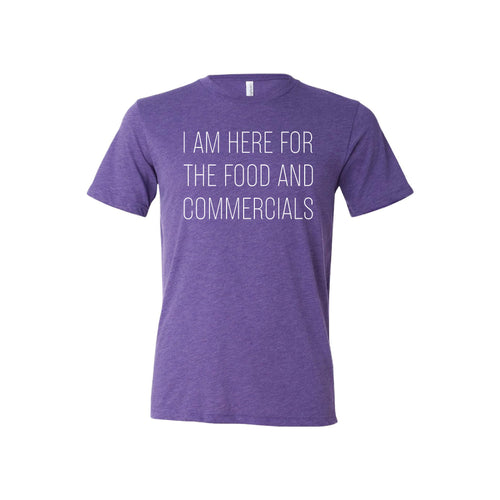 im here for the food and commercials t-shirt - purple -sportsball - soft and spun apparel