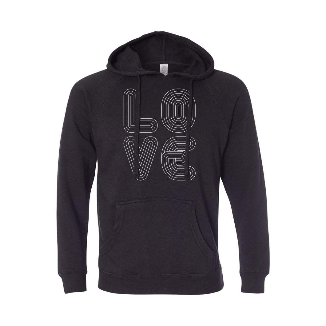 love lines pullover hoodie - black - soft and spun apparel