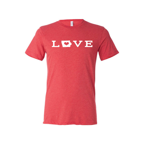 love - iowa t-shirt - red - midwest nice - soft and spun apparel