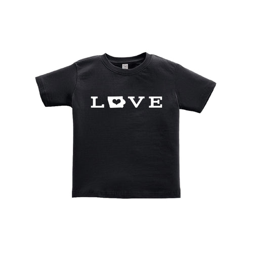 love - iowa - toddler tee- black - soft and spun apparel