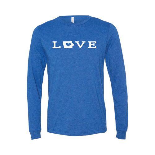 love - iowa - long sleeve t-shirt - blue - midwest nice - soft and spun apparel