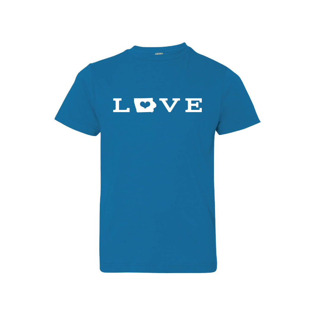 love - iowa - kids t-shirt - cobalt - midwest nice collection - soft and spun apparel