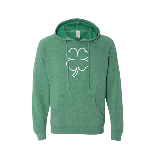 st patrick's day shamrock hoodie - sea green - soft and spun apparel