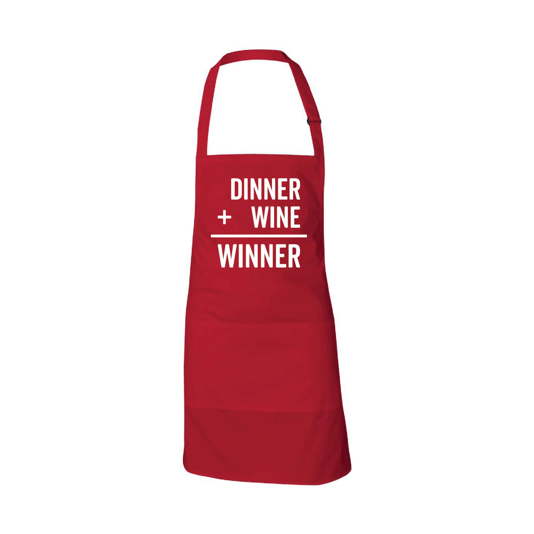 dinner plus wine equals winner apron - american red - soft and spun apparel