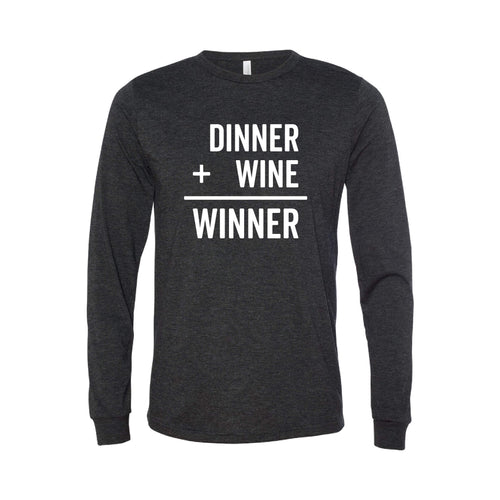 Diner + Wine = Winner Long Sleeve T-Shirt - Charcoal - Soft & Spun Apparel