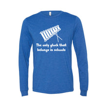 the only glock that belongs in schools long sleeve t-shirt - blue - soft and spun apparel