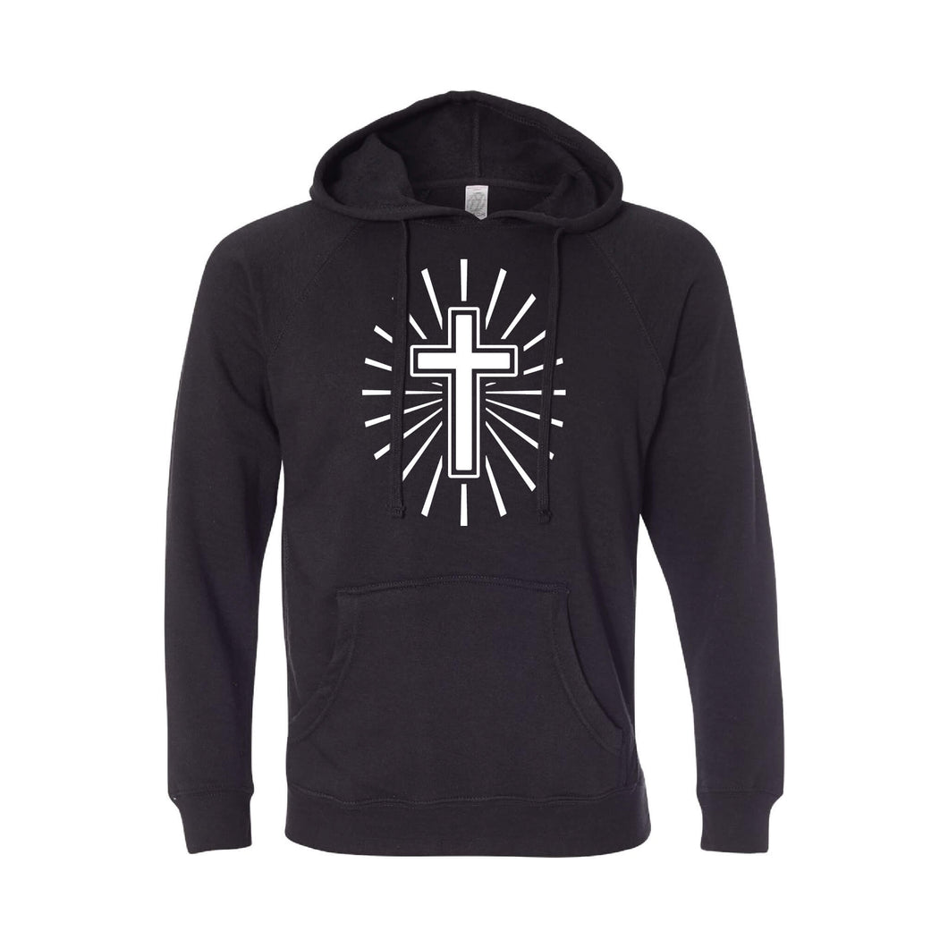 cross hoodie - easter hoodie - black - soft and spun apparel
