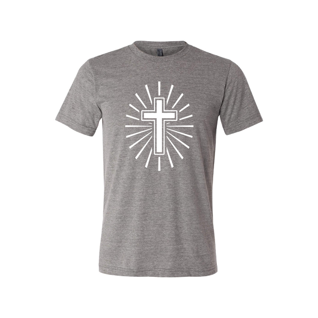 cross t-shirt - easter t-shirt - grey - soft and spun apparel