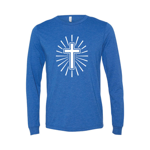 cross long sleeve t-shirt - easter long sleeve t-shirt - true royal - soft and spun apparel