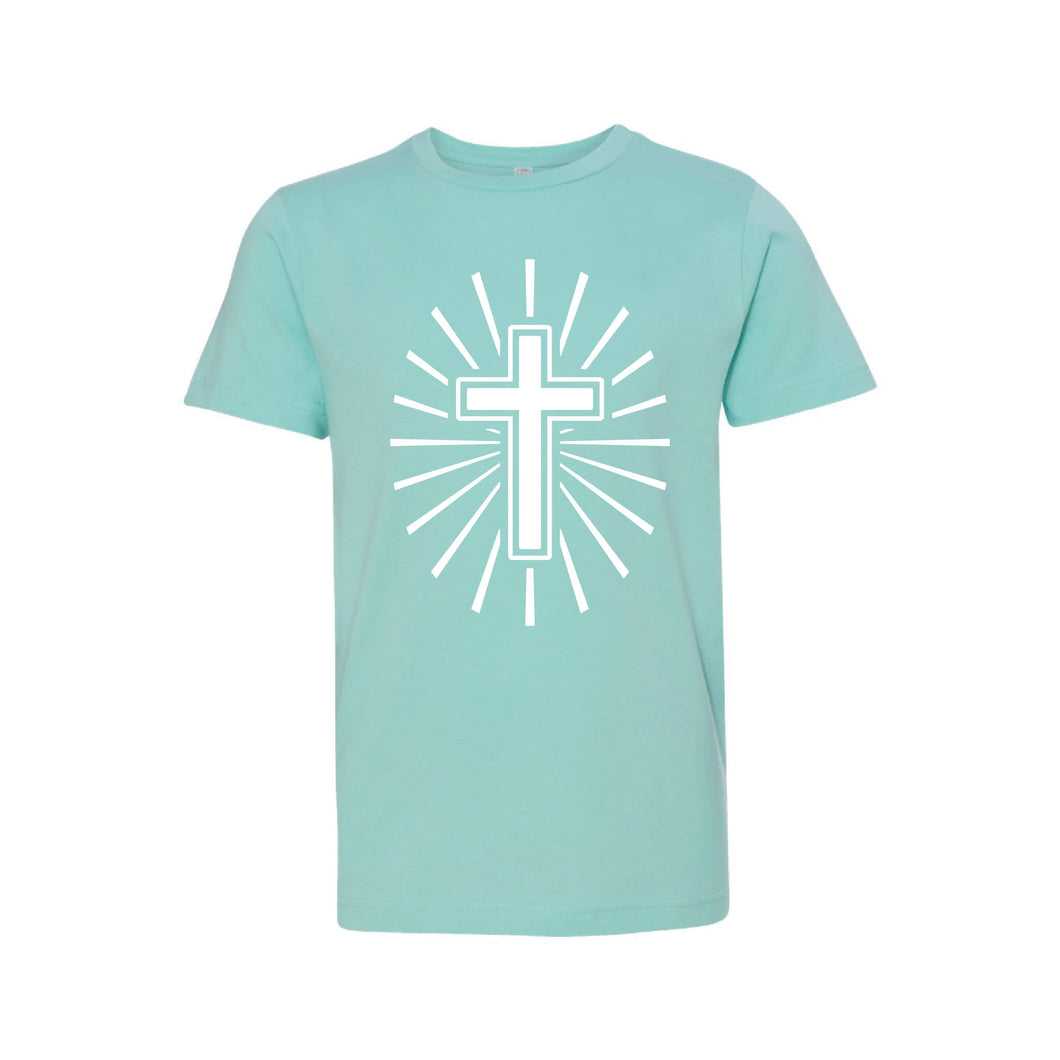 cross kid's t-shirt - easter kid's t-shirt - caribbean - soft and spun apparel