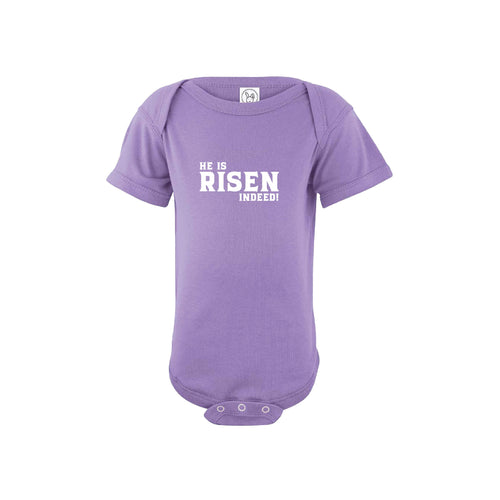 he is risen indeed onesie - easter onesie - lavender - soft and spun apparel