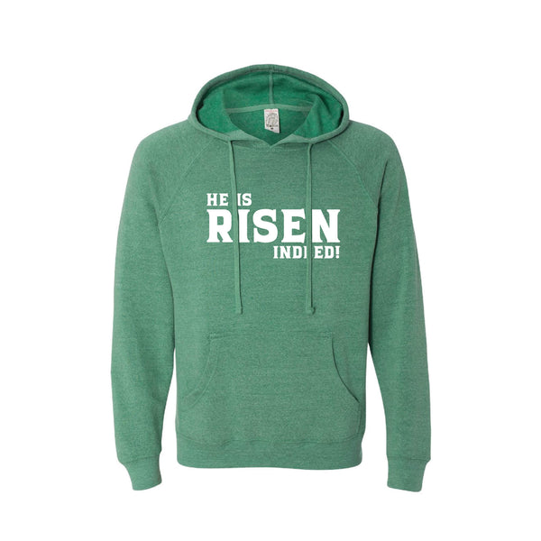 he is risen indeed pullover hoodie - easter hoodie - sea green - soft and spun apparel