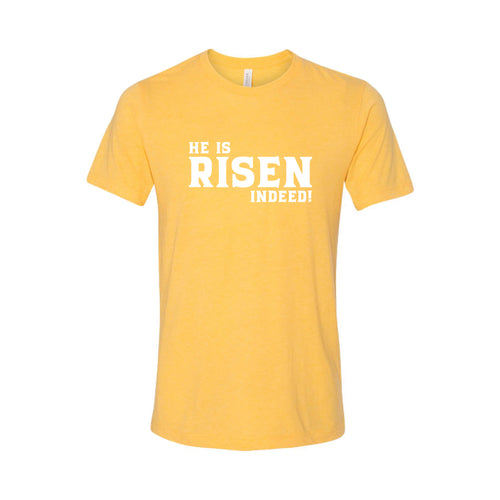 he is risen indeed t-shirt - easter t-shirt - yellow - soft and spun apparel