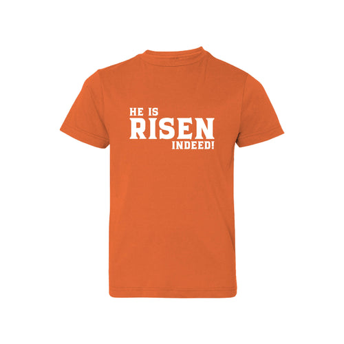 he is risen indeed kids t-shirt - easter kids t-shirt - orange - soft and spun apparel