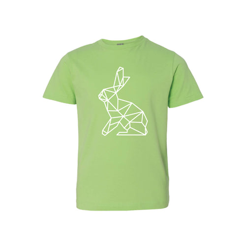 geometric easter bunny kids t-shirt - key lime - soft and spun apparel