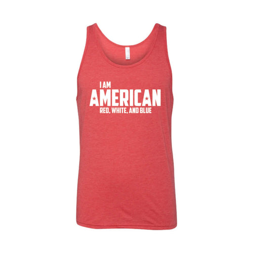 I Am American Men's Tank-XS-Red-soft-and-spun-apparel
