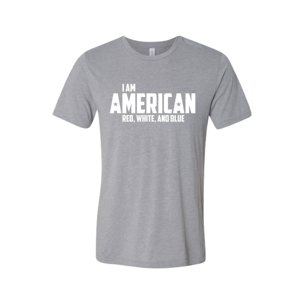 I Am American T-Shirt-XS-Athletic Grey-soft-and-spun-apparel