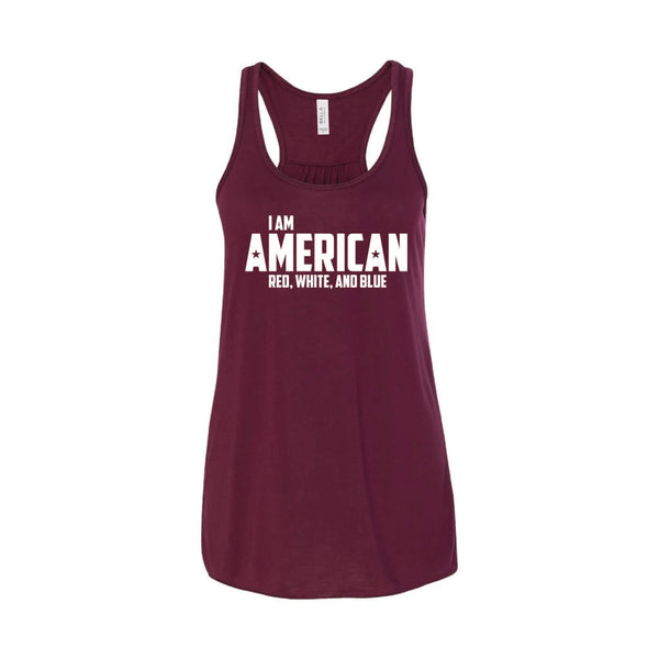 I Am American Women's Tank-XS-Maroon-soft-and-spun-apparel