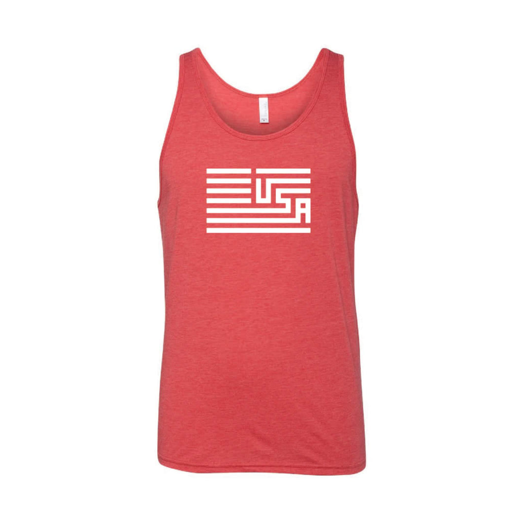 USA Flag Men's Tank-XS-Red-soft-and-spun-apparel