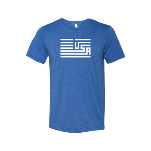 USA Flag T-Shirt-XS-True Royal-soft-and-spun-apparel