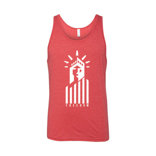 Statue of Liberty Freedom Men's Tank-XS-Red-soft-and-spun-apparel