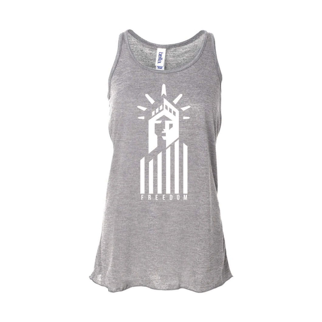Statue of Liberty Freedom Women's Tank-XS-Athletic Heather-soft-and-spun-apparel