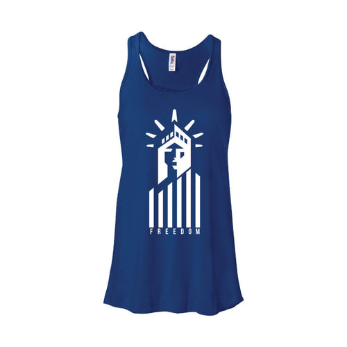Statue of Liberty Freedom Women's Tank-XS-True Royal-soft-and-spun-apparel