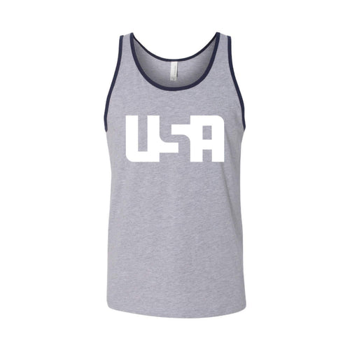 USA Men's Tank-XS-Heather Navy-soft-and-spun-apparel