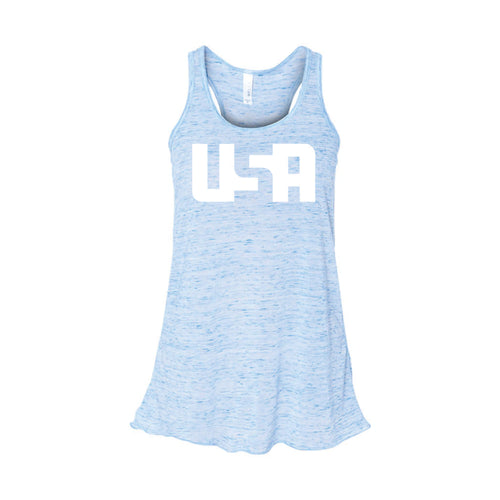 USA Women's Tank-XS-Blue Marble-soft-and-spun-apparel