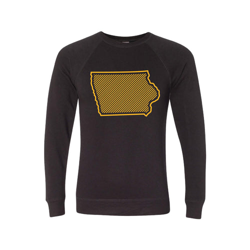 University of Iowa Outline Themed Crewneck Sweatshirt-S-Black-soft-and-spun-apparel