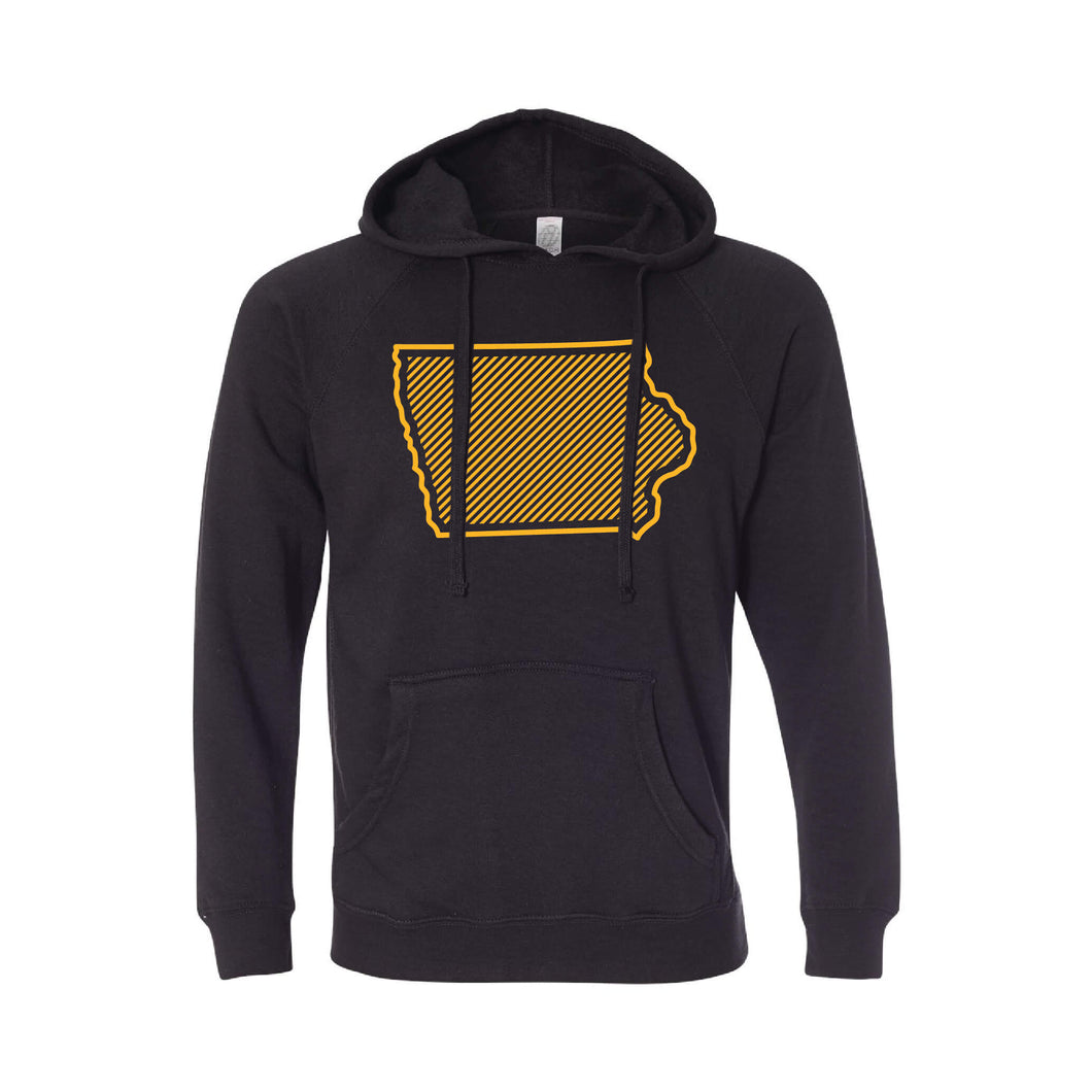 University of Iowa Outline Themed Pullover Hoodie-S-Black-soft-and-spun-apparel