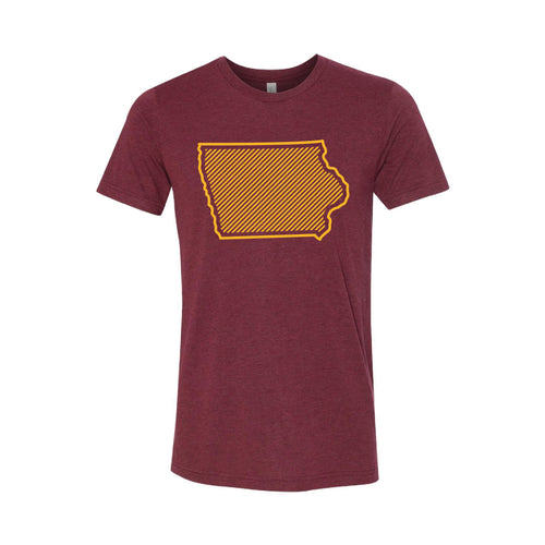 Iowa State University Outline Themed T-Shirt-XS-Cardinal-soft-and-spun-apparel