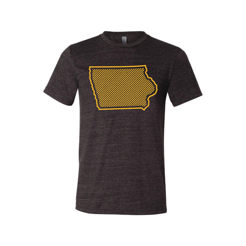University of Iowa Outline Themed T-Shirt-XS-Charcoal Black-soft-and-spun-apparel