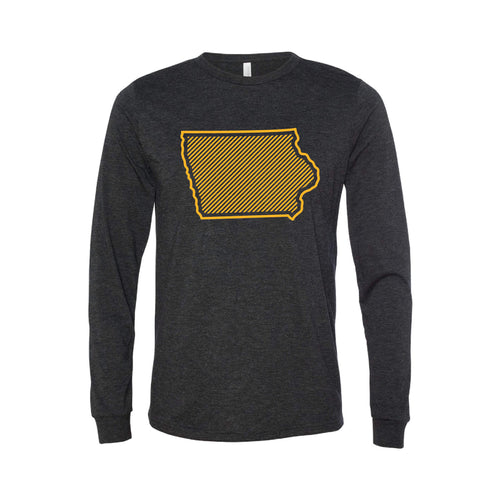 University of Iowa Outline Themed Long Sleeve T-Shirt-XS-Charcoal Black-soft-and-spun-apparel