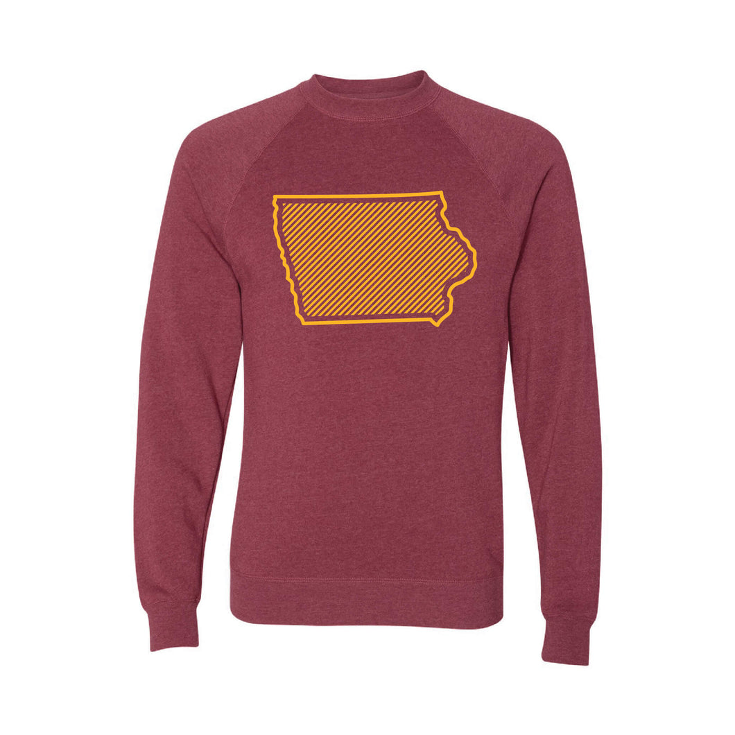 Iowa State University Outline Themed Crewneck Sweatshirt-S-Crimson-soft-and-spun-apparel