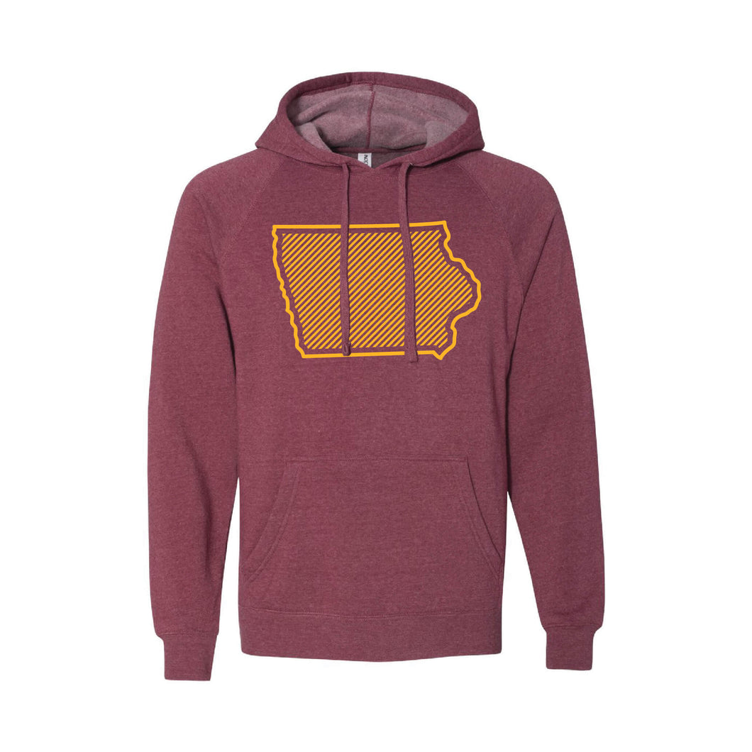 Iowa State University Outline Themed Pullover Hoodie-S-Crimson-soft-and-spun-apparel