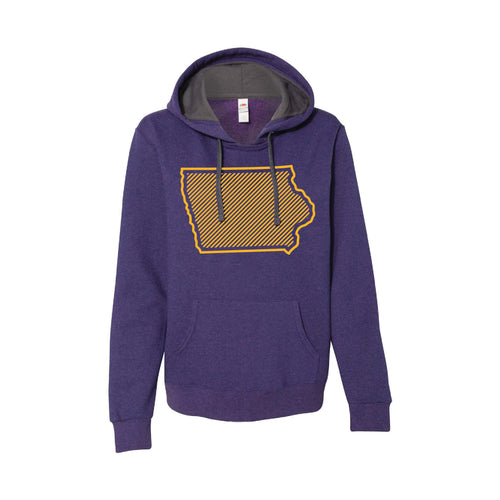 University of Northern Iowa Outline Themed Pullover Hoodie-S-Heather Grape-soft-and-spun-apparel