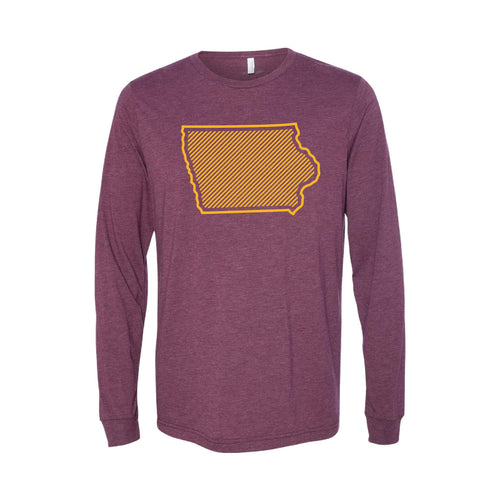 Iowa State University Outline Themed Long Sleeve T-Shirt-XS-Cardinal-soft-and-spun-apparel