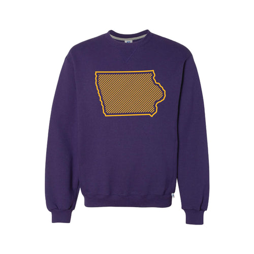 University of Northern Iowa Outline Themed Crewneck Sweatshirt-S-Purple-soft-and-spun-apparel